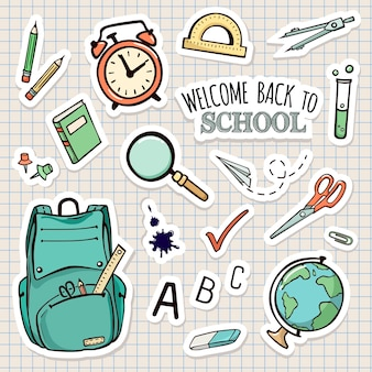 Vector set of school stickers