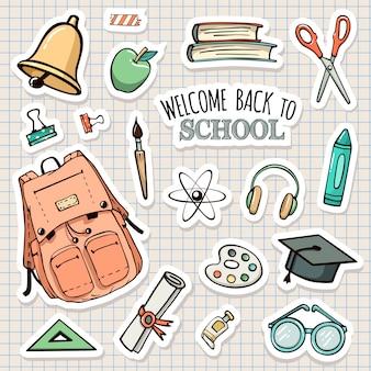 Vector set of school stickers