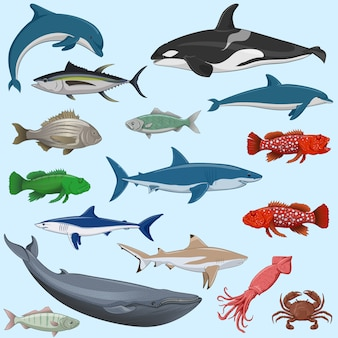 Vector set of sea animals