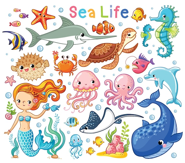 Vector set on a sea theme in a childrens style