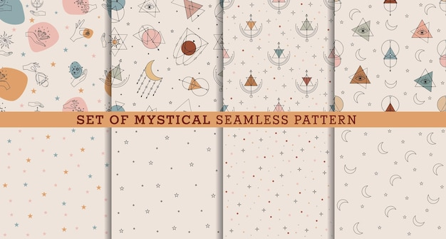 Vector set seamless pattern with colorful alchemy and mystic signs