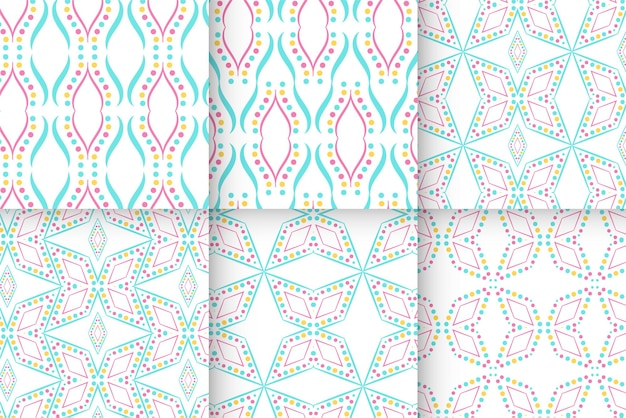 Vector set of seamless patterns dot line