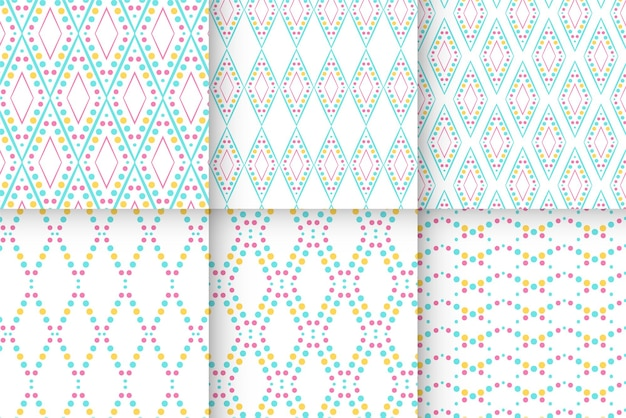 Vector set of seamless patterns dot