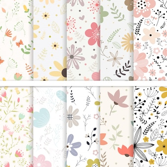 Vector set  of seamless patterns flower .