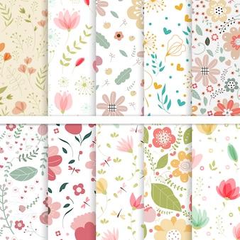 Vector set of seamless patterns flower.