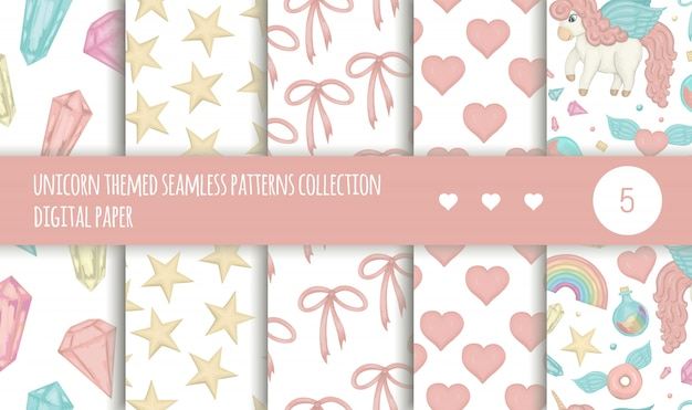 Vector set of seamless patterns with magic colored hearts, unicorns, rainbow isolated on white