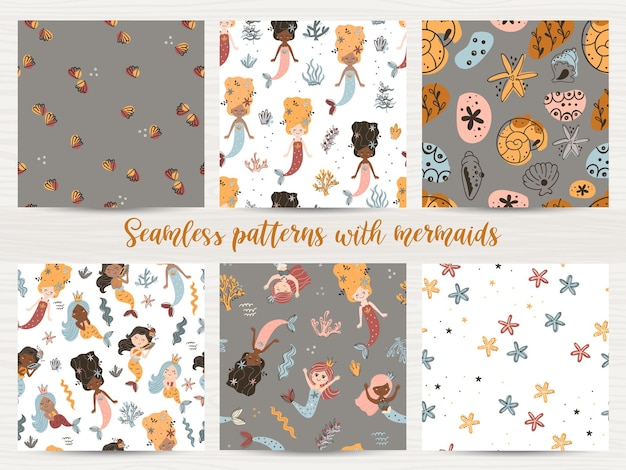 Vector set of seamless patterns with mermaids