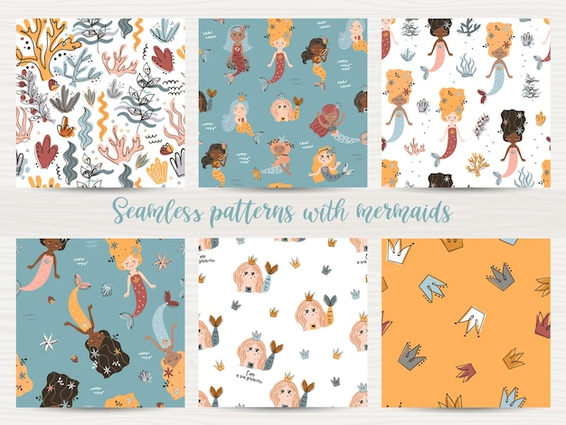 Vector set of seamless patterns with mermaids.