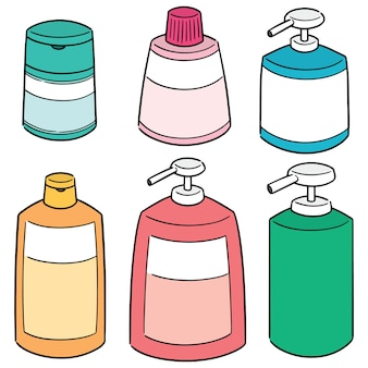 Vector set of shampoo and liquid soap bottle