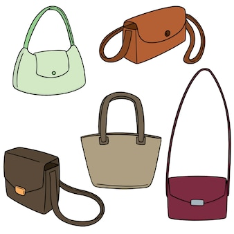 Vector set of shoulder bag