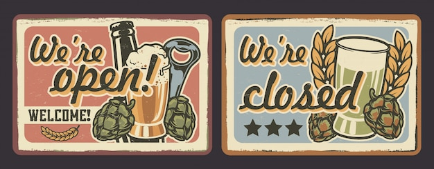 Vector set of signs for cafes in vintage style.