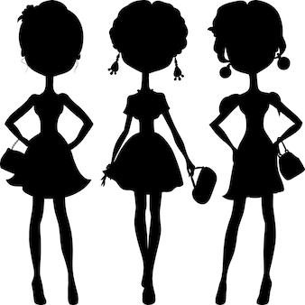 Векторный набор силуэт моды девочек топ-моделей
