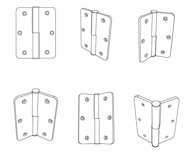 Vector set of simple door hinge