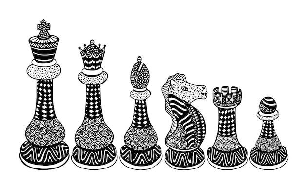 Vector set of sketch chess