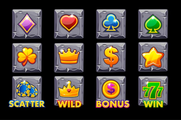Vector set slots icons on stone square for slot machines or casino.