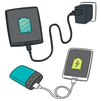 Vector set of smartphone charging