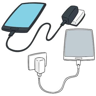 Vector set of smartphone charging