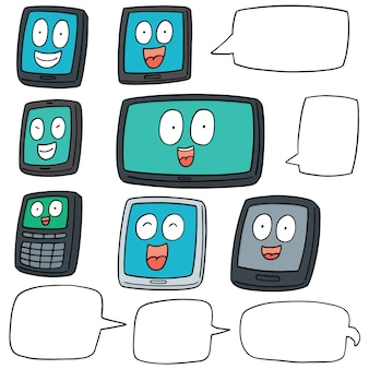 Vector set of smartphone and tablet cartoon