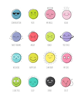 Vector set of smiles.