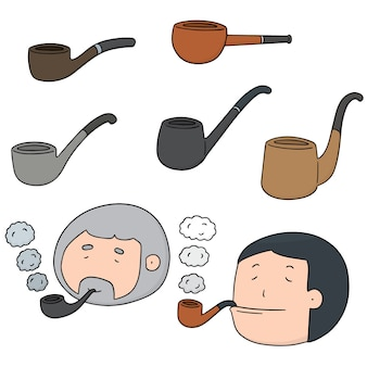 Vector set of smoking pipe