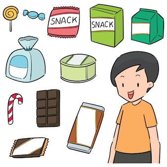Vector set of snack and kid