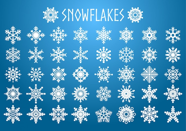Vector set of snowflakes shapes.