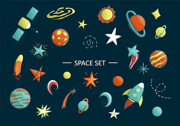 Vector set of space objects. illustration of space clip art. bright planet, rocket, star, ufo, galaxy, moon, spaceship, sun in cartoon style