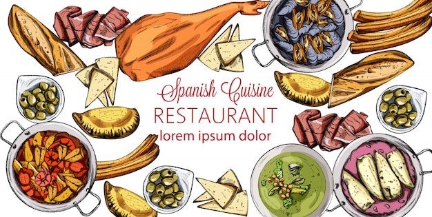 Vector set of spanish tasty food. mussels, jamon bone, baguette, calzone, seafood soup, green beans or spinach puree