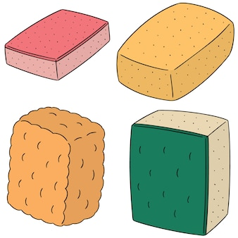 Vector set of sponge