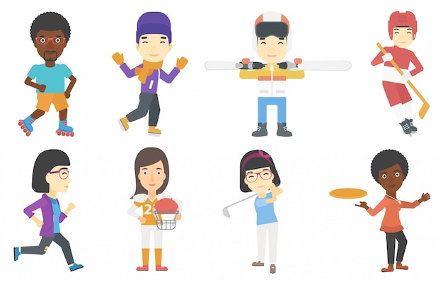 Vector set of sport characters.