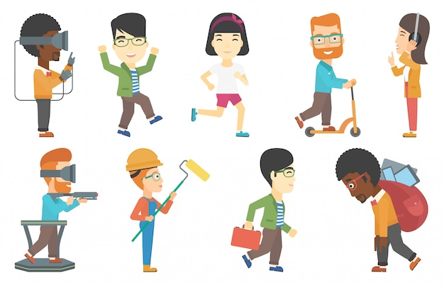 Vector set of sportsmen and people in vr headset.