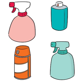 Vector set of spray can and bottle