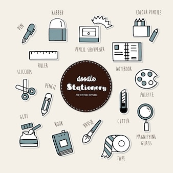 Vector set of stationary icons