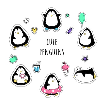 Vector set of stickers. penguins. cartoon style,