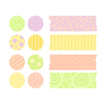 Vector set of stickers and scotch tape
