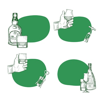 Vector set of stickers with place for text with hand drawn alcohol drink bottles and glasses illustration