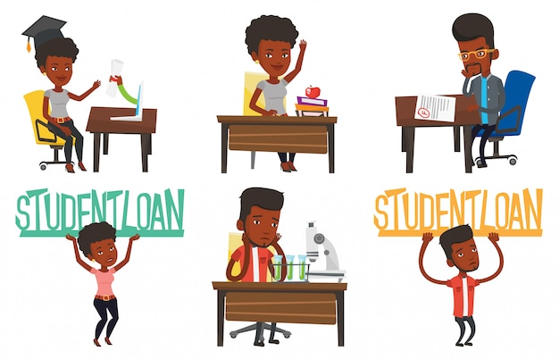 Vector set of student characters.