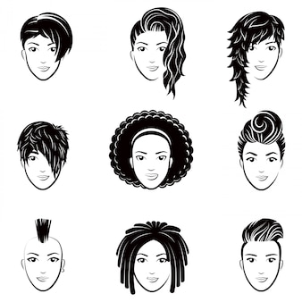 Vector set of stylized logo with beautiful women hairstyles. fashion stylish collection of fashionable hairstyle.