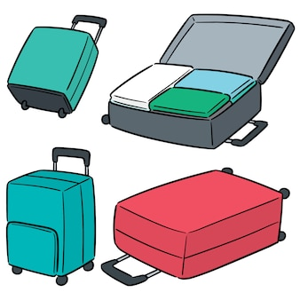 Vector set of suitcase