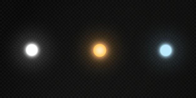 Vector set of sun on a transparent dark background