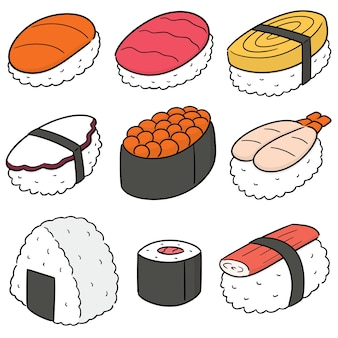 Vector set of sushi (rice with raw fish)