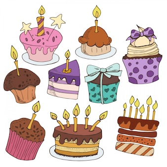 Vector set of sweets and cakes