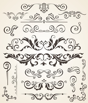 Vector set of swirl elements and corners for design