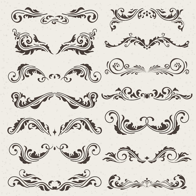 Vector set of swirl elements for design.
