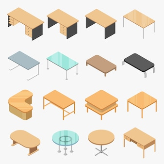 Vector set tables isometric object