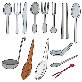 Vector set of tableware
