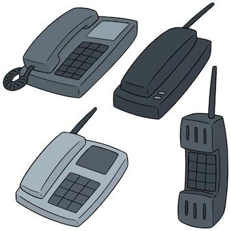 Vector set of telephones