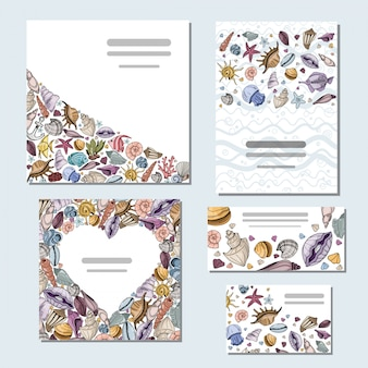 Vector set of templates cards with seashells