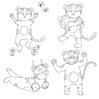Vector set of tiger cubs in doodle style in different poses