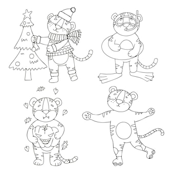 Vector set of tiger cubs in doodle style each corresponds to the old season
